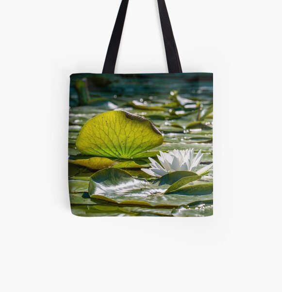 Lily Pad with Water Lily Pattern All Over Print Tote Bag