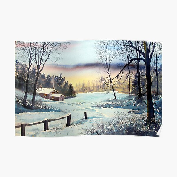 Cottage in Winter Poster