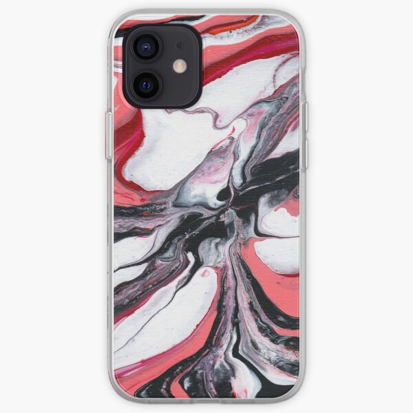 Pink and Red Nebula (abstract acrylic pour) iPhone Soft Case