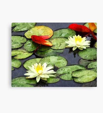 Water Lily Pond in Autumn Canvas Print