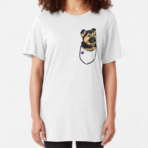 German Shepherd Fake Pocket T-Shirt Dog Cute Top Animal Lover Puppy T Shirt