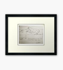 Dog & Wrapping paper roll Framed Print