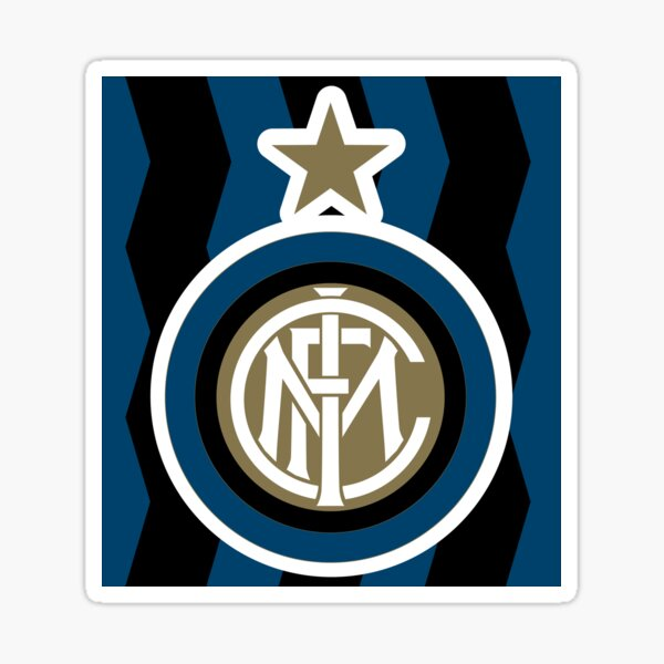 Inter De Milan Logo With Blue Background And Black Lines 2020 2021 Original Sticker By Edfrabel Redbubble