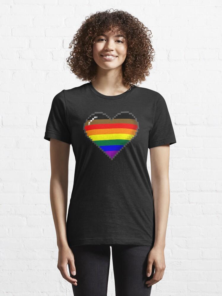 Alternate view of Philly LGBTQ Pride 8-Bit Pixel Heart Essential T-Shirt