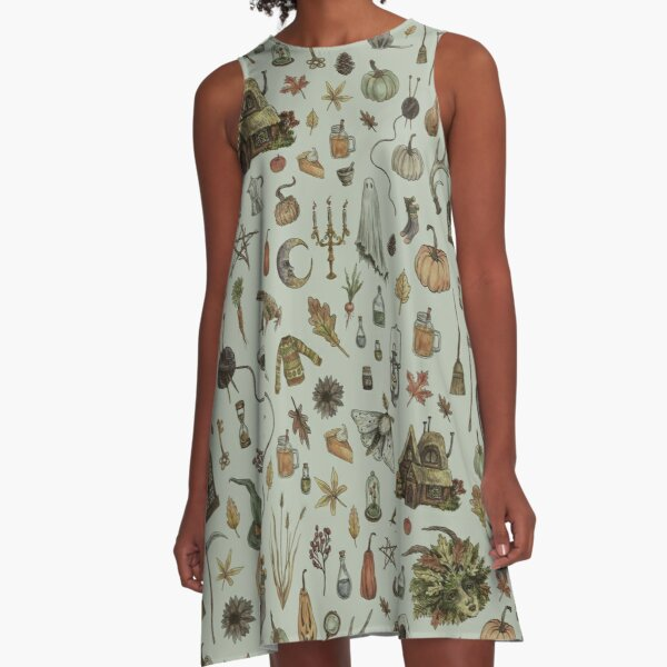 Green Cozy Crone A-Line Dress