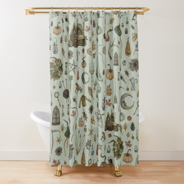 Green Cozy Crone Shower Curtain