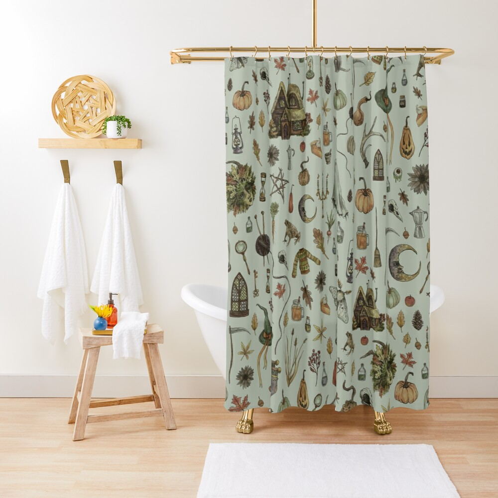 Green Cozy Crone Shower Curtain