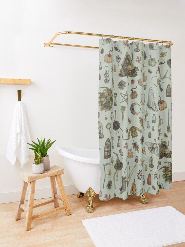 Alternate view of Green Cozy Crone Shower Curtain