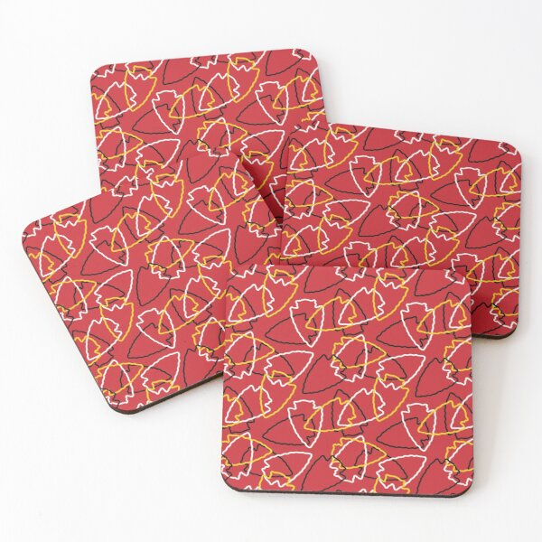 Chiefs Arrowhead Pattern on Red Coasters (Set of 4)