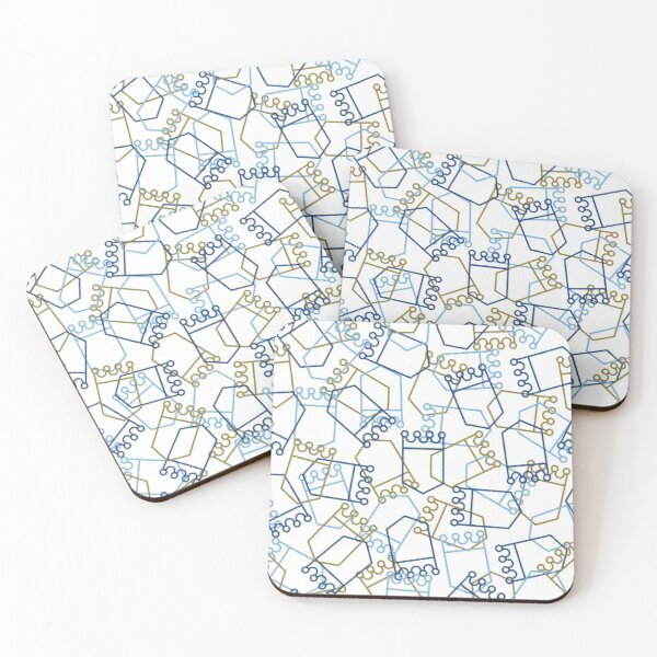 Royals Shield Pattern, White Background Coasters (Set of 4)