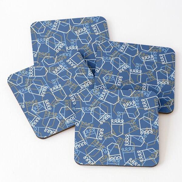 Royals Shield Pattern, Royal Blue Background Coasters (Set of 4)