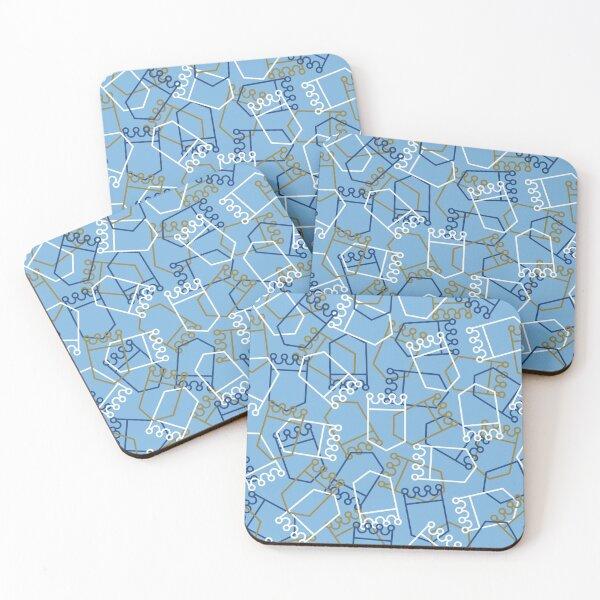 Royals Shield Pattern, Light Blue Background Coasters (Set of 4)