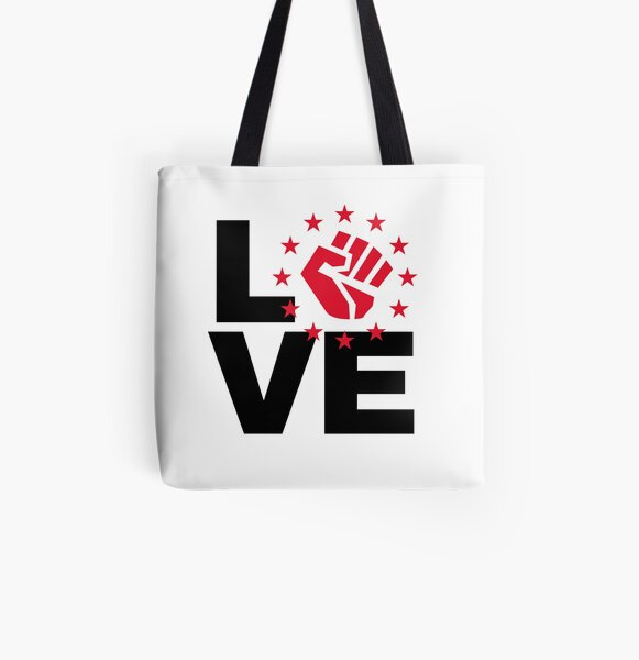 Love with black power fist - black and white All Over Print Tote Bag
