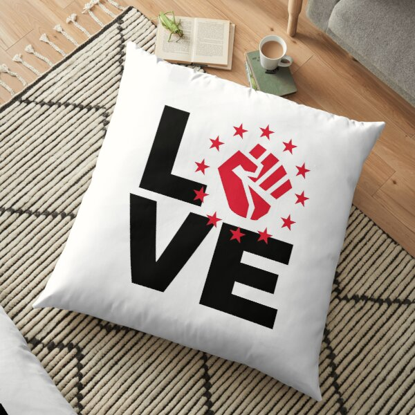 Love with black power fist - black and white Floor Pillow