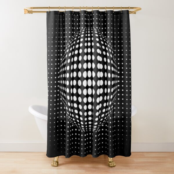 Ball Visual Illusion. Визуальная Иллюзия Шара. Shower Curtain