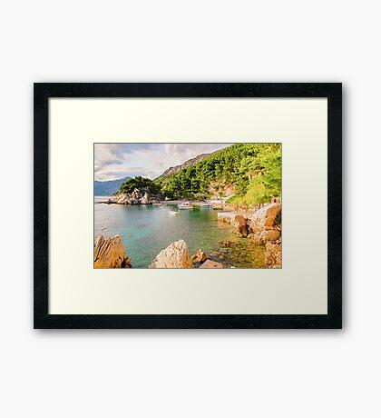 Private Beach in Brela, Croatia Framed Print