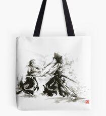 Samurai wild fight old japan bushido katana painting Tote Bag