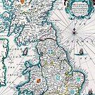 Vintage Antique Map of Britannia by pjwuebker