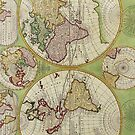 Vintage Map of the World Circa 1742 by pjwuebker