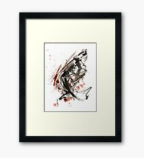 Samurai ronin wild fury bushi bushido martial arts sumi-e original ink painting artwork Framed Print
