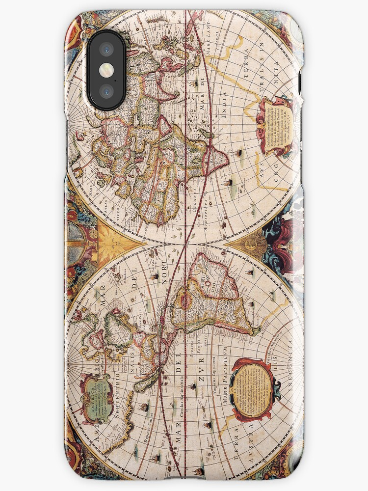 Vintage Map of the Known World Circa 1630 by pjwuebker