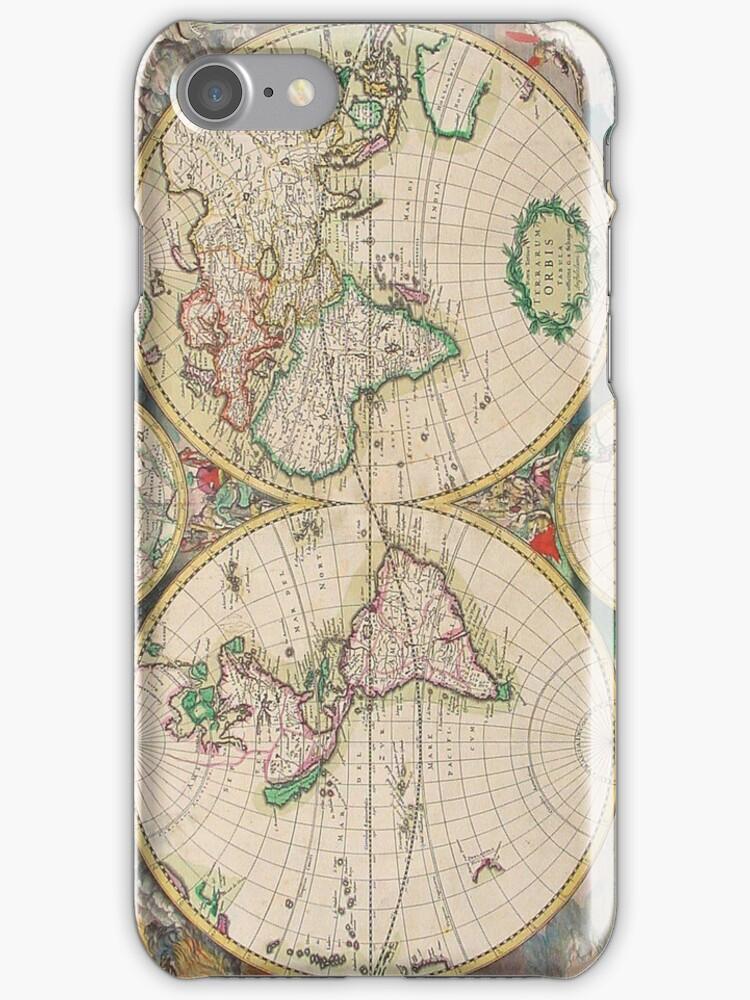 Vintage Antique Map of the Hemispheres by pjwuebker