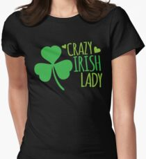 Crazy Irish Lady with green ireland shamrock Womens Fitted T-Shirt