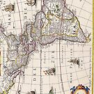 Vintage Antique Map of the Americas Circa 1650 by pjwuebker