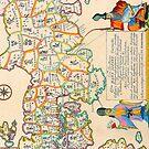 Vintage Antique Map of Japan by pjwuebker