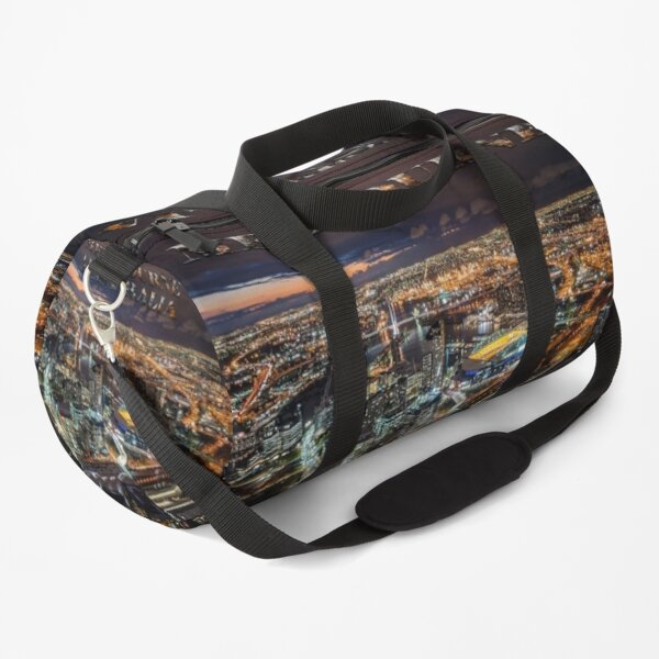Melbourne at Night (widescreen poster on white) Duffle Bag