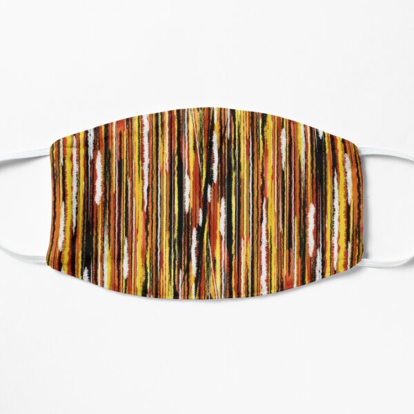 Red, white, black, yellow, orange vertical lines Mask