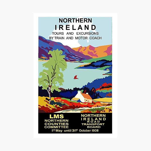 Northern Ireland,landscape,vintage travel poster Photographic Print