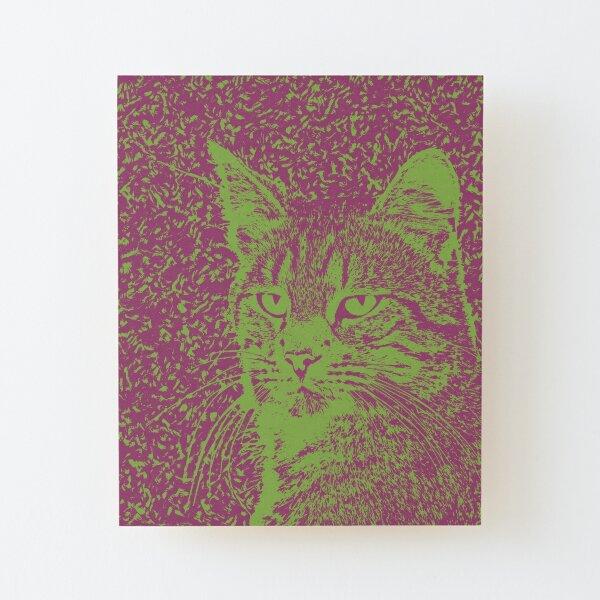 Portrait of cat, ninja Cat Sensei. 8-bit. Wood Mounted Print