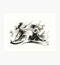 Samurai sword bushido katana martial arts budo sumi-e original ink painting artwork Kunstdruck
