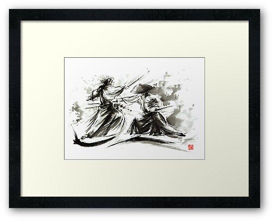 Samurai sword bushido katana martial arts budo sumi-e original ink painting artwork by Mariusz Szmerdt