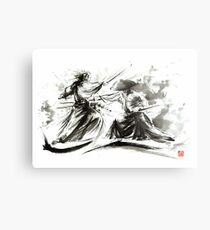 Samurai sword bushido katana martial arts budo sumi-e original ink painting artwork Metallbild