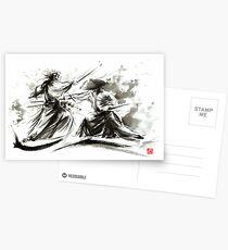 Samurai sword bushido katana martial arts budo sumi-e original ink painting artwork Postcards