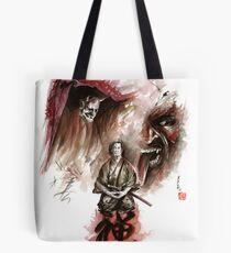 Samurai ronin zen meditation deamons of mind martial arts sumi-e original ink painting artwork Tote Bag