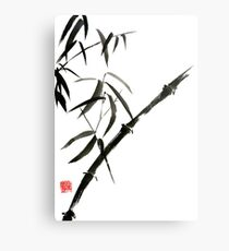 Bamboo japanese chinese sumi-e suibokuga tree watercolor original ink painting Metal Print