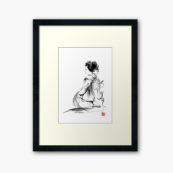 Geisha Japanese woman in Tokyo kimono original Japan painting art Framed Art Print