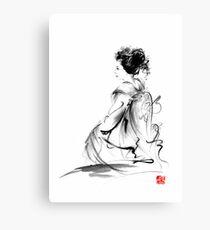 Geisha Japanese woman in Tokyo kimono original Japan painting art Canvas Print