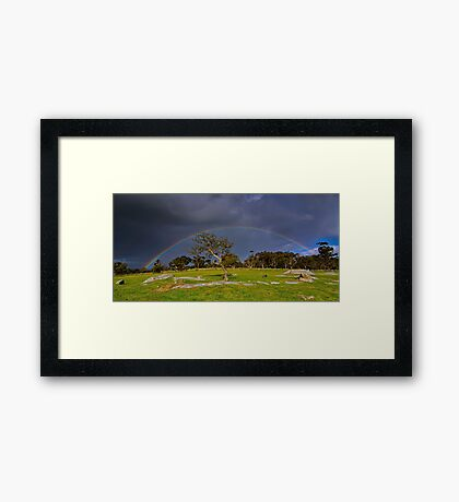 """Rainbow At The Rocks"" Framed Print"