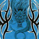 Tribal Dragon Blue by Tim Miklos