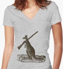 Kangaroo Shotgun Women's Fitted V-Neck T-Shirt