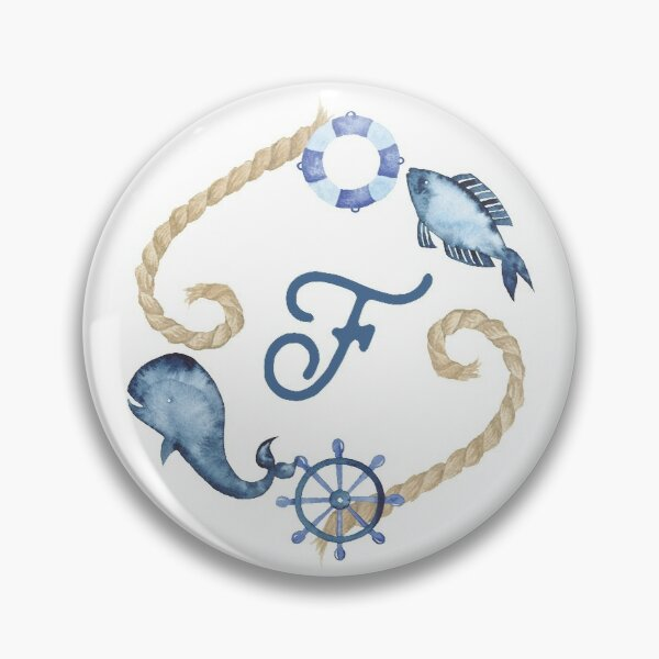 Coastal Initial Wreath F Pin