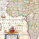 Vintage Antique Map of Africa Circa 1652 by pjwuebker
