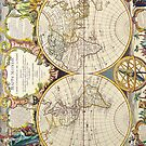 Vintage Antique French Map of the World Circa 1755 by pjwuebker