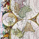 Vintage Antique French Map of the Hemispheres by pjwuebker