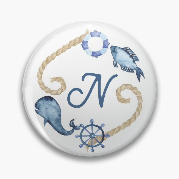 Coastal Initial Wreath N Pin