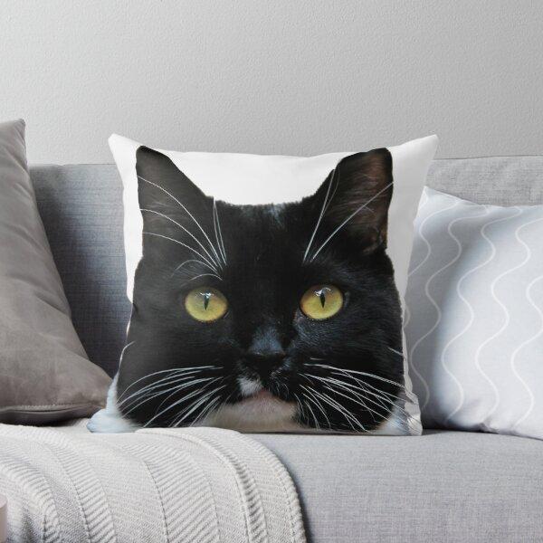 Cute Kawaii Black and White Tuxedo Cat Throw Pillow